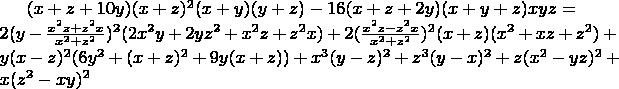 $(x+z+10y)(x+z)^2(x+y)(y+z)-16(x+z+2y)(x+y+z)xyz=\\ 2(y-\frac{x^2z+z^2x}{x^2+z^2})^2(2x^2y+2yz^2+x^2z+z^2x)+2(\frac{x^2z-z^2x}{x^2+z^2})^2(x+z)(x^2+xz+z^2)+\\ y(x-z)^2(6y^2+(x+z)^2+9y(x+z))+x^3(y-z)^2+z^3(y-x)^2+z(x^2-yz)^2+x(z^2-xy)^2$